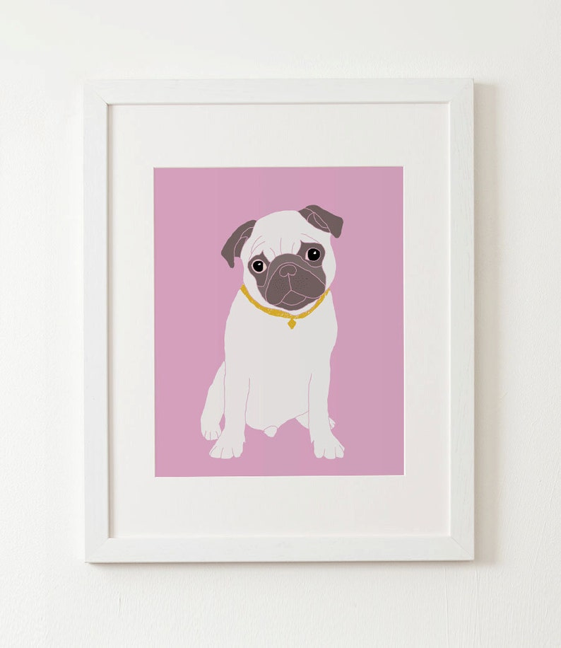 Pug dog in a suitecase  dog art print 8x10