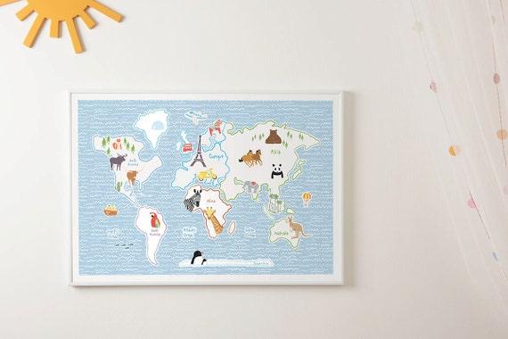World map for kids nursery prints wm603 size a1 a2 a3 a4 etsy image 0 gumiabroncs Choice Image