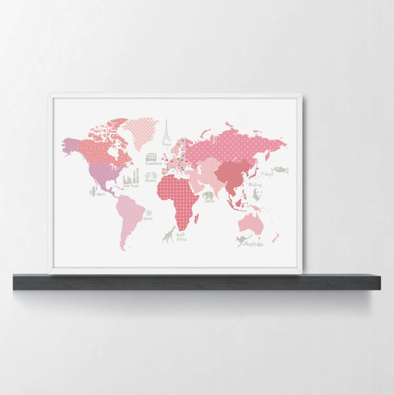 Girls room decor world map poster wm305a pink world map etsy image 0 gumiabroncs Choice Image