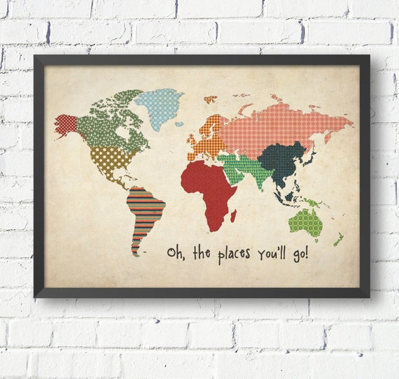Vintage World Map World Map Poster Size A A A A World Etsy - A1 world map poster