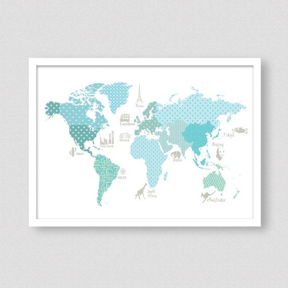 carte du monde des enfants affiche carte mondiale sarcelle. Black Bedroom Furniture Sets. Home Design Ideas