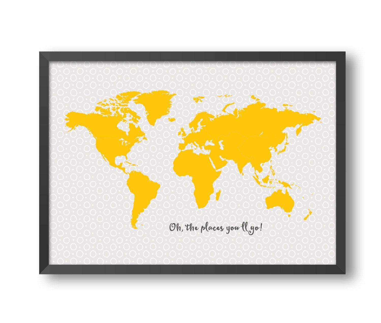 World map print-10 size A1 A2 A3 A4 world map kids wall art   Etsy