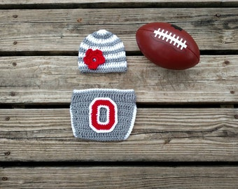 best website b42ae efdf8 ... best price ready to ship ohio state crochet baby set with grey and  white striped hat