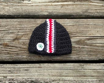 cb7784e3d55 Ohio State Buckeyes Baby Beanie - Ready to Ship - Black Crochet OSU Helmet  Hat with Black White and Scarlet Stripes and Buckeye Leaf Decal