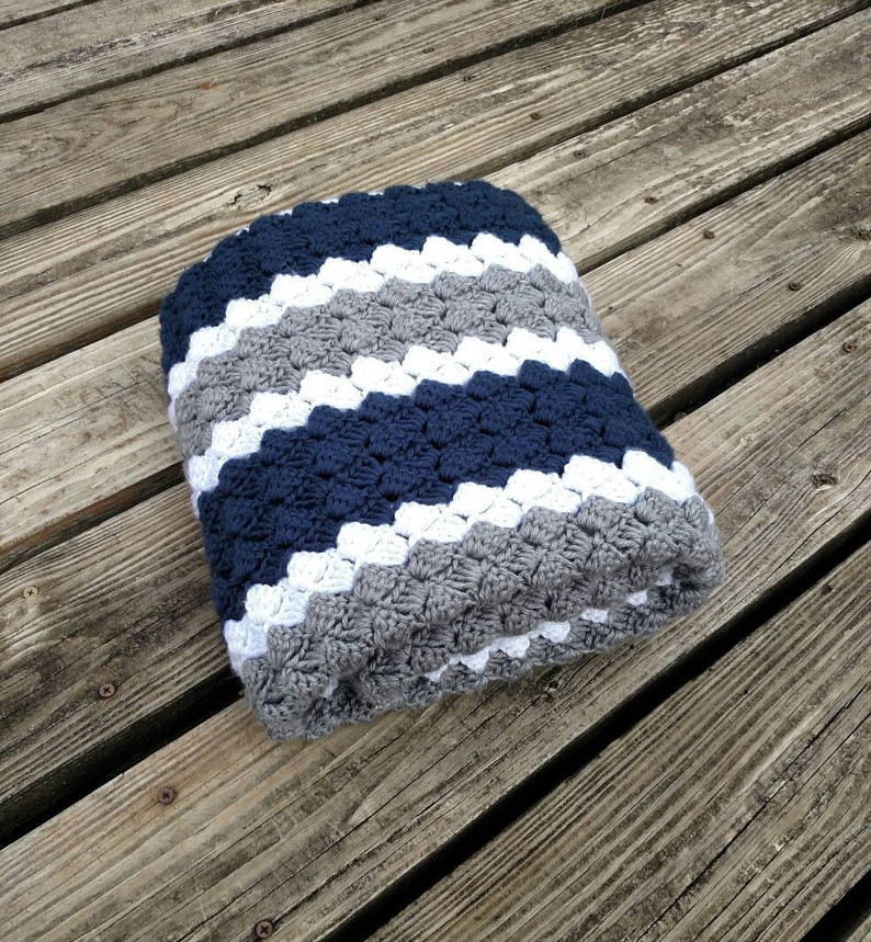a811999102aa Dallas Cowboys Crochet Blue Grey and White Blanket Multiple | Etsy