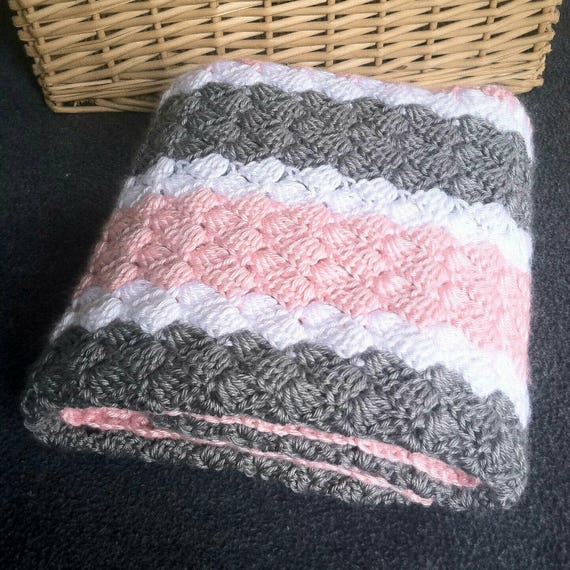 Crochet Pattern Pink White And Grey Striped Baby Blanket Etsy