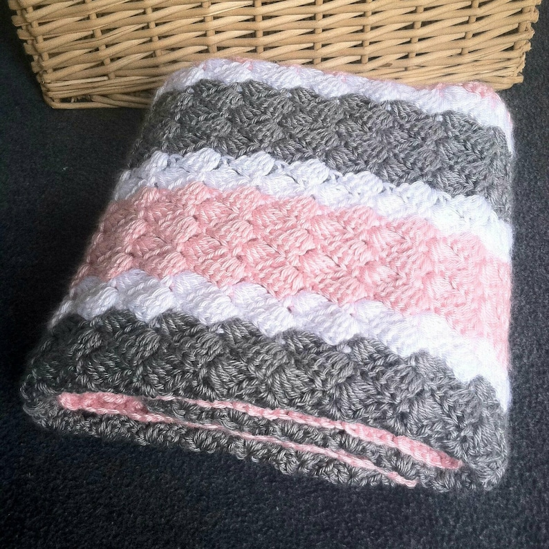 Crochet Pattern Baby Blanket In Pink White And Gray Etsy