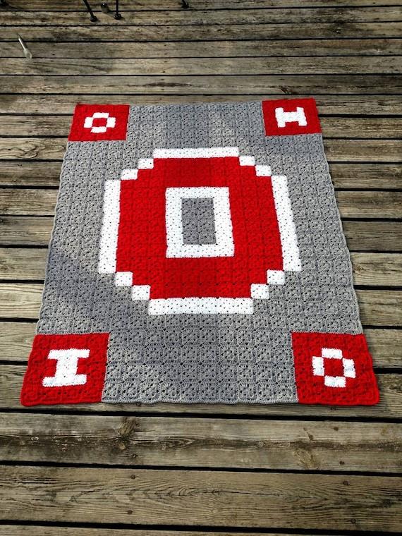Ohio State Crochet Blanket Customizable Handmade Block O Etsy