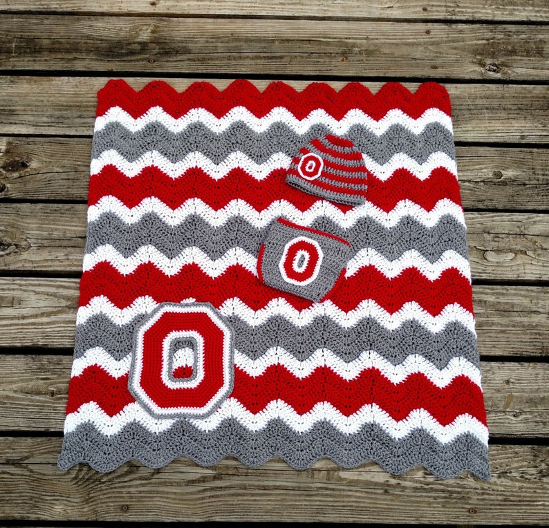 75fbd468a37 Ohio State Crochet Baby Gift Set with Striped Hat Diaper