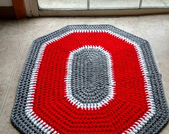 Ohio State Buckeyes Decorative Crochet Rug Osu Mat With