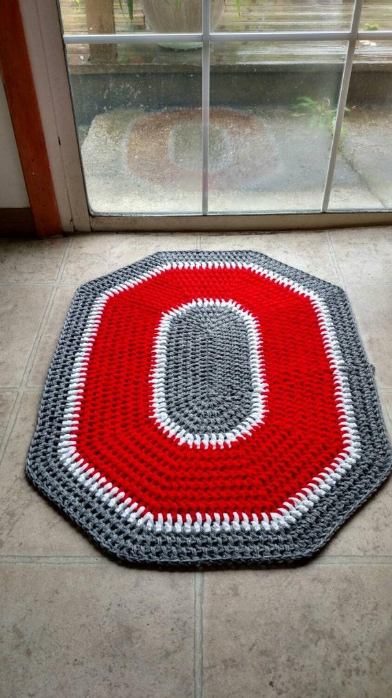 Ohio State Buckeyes Crochet Rug Handmade Block O Throw Rug Etsy