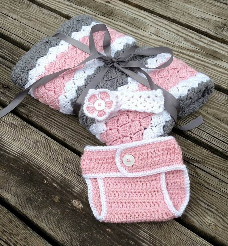 596ba35c4ed53 Crochet Baby Gift Set - Pink, White, and Grey Baby Girl Crochet Stripe Baby  Blanket, Pink Flower Stretchy Headband and Pink Diaper Cover