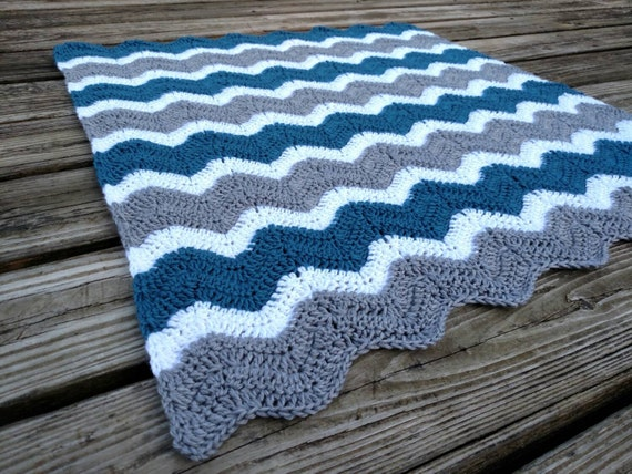 Crochet Chevron Blanket Ocean Blue Grey And White Zig Zag Etsy