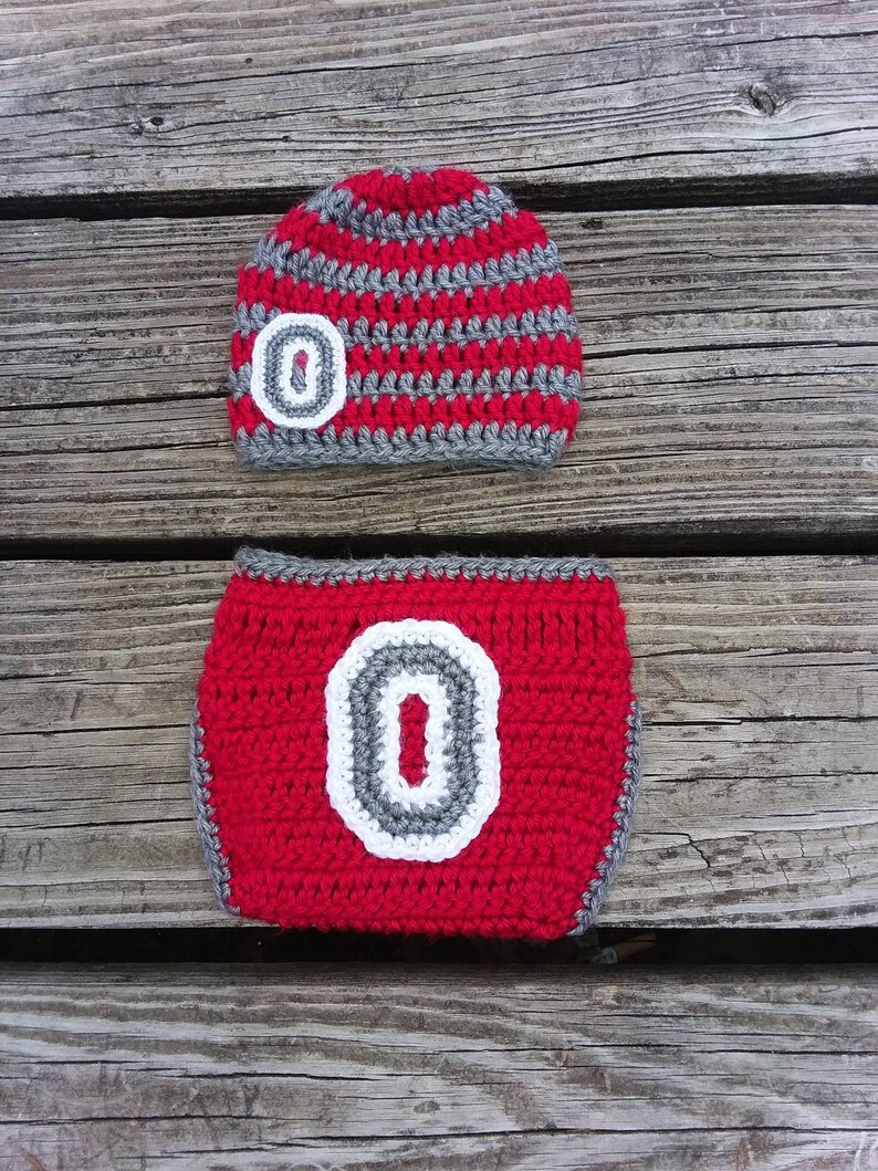 6569493742c Ohio State Crochet Baby Set with Grey and Scarlet Striped Hat