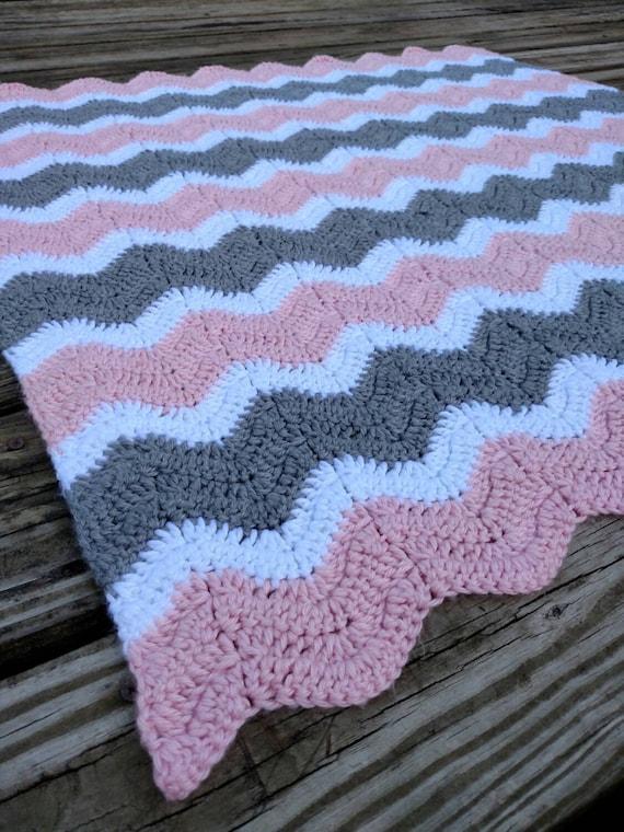 Pink and Gray Crochet Chevron Baby Blanket Hand Made Ripple | Etsy