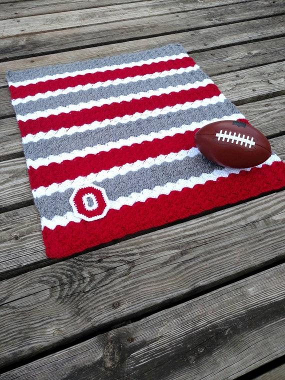 Ohio State Crochet Blanket With Crocheted Block O Osu Etsy