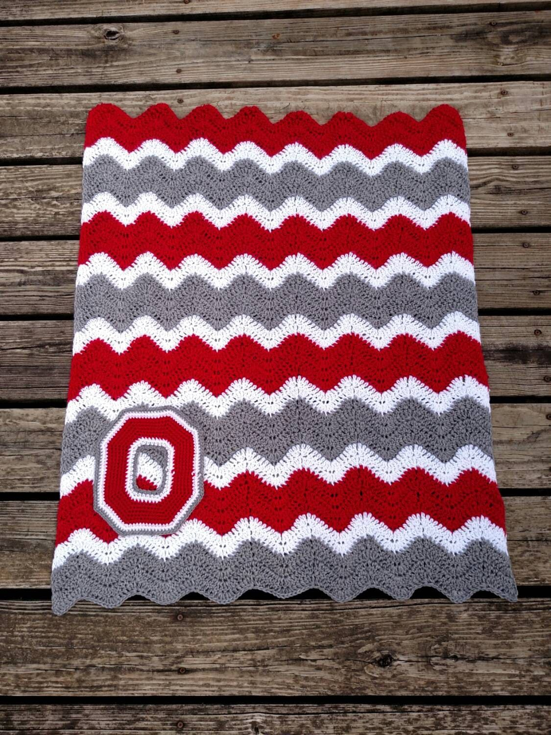 Ohio State Crochet Chevron Blanket With Crocheted Block O Etsy
