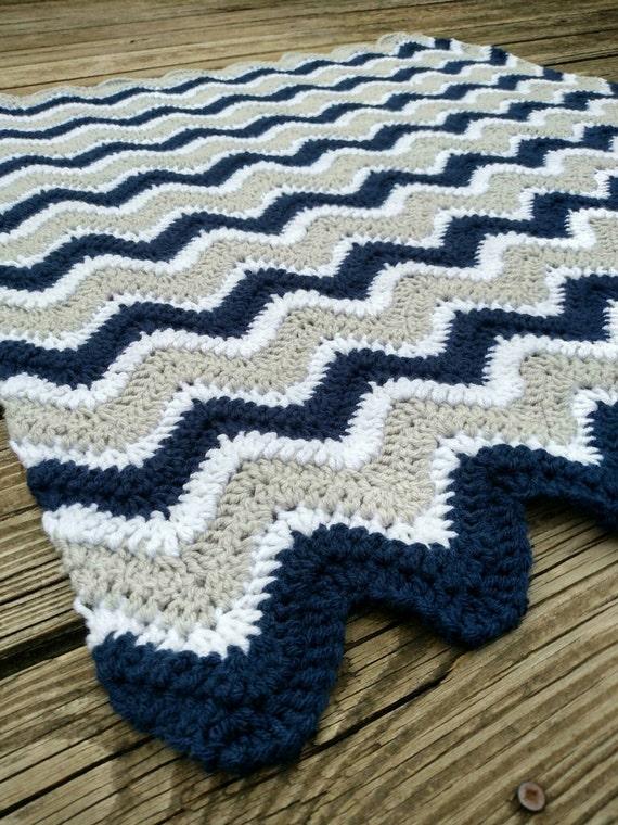 Dallas Cowboys Crochet Chevron Blanket Navy Blue And Grey Etsy