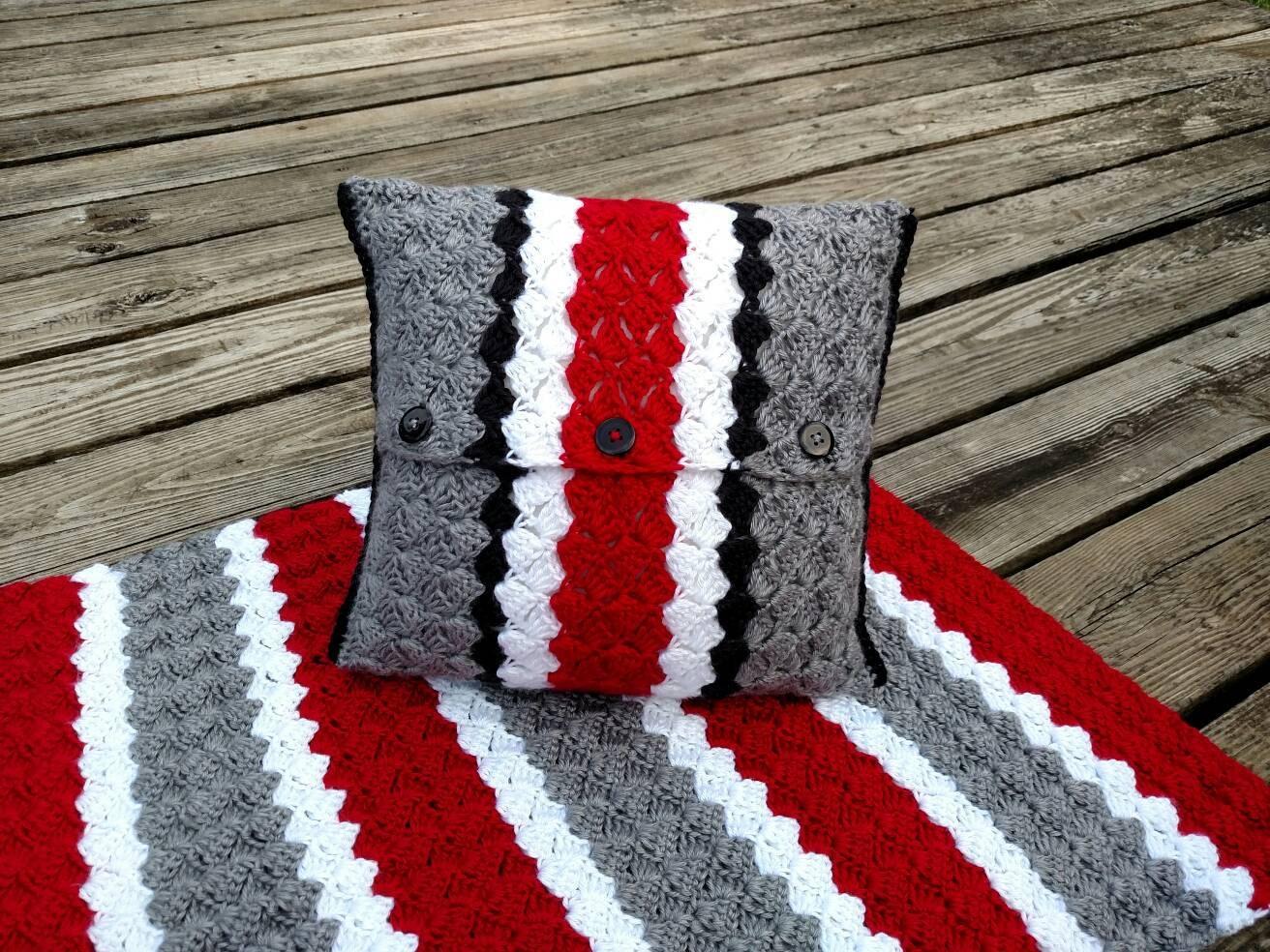 Ohio State Pillow Cover Crochet Pillow Cover Buckeye Helmet | Etsy