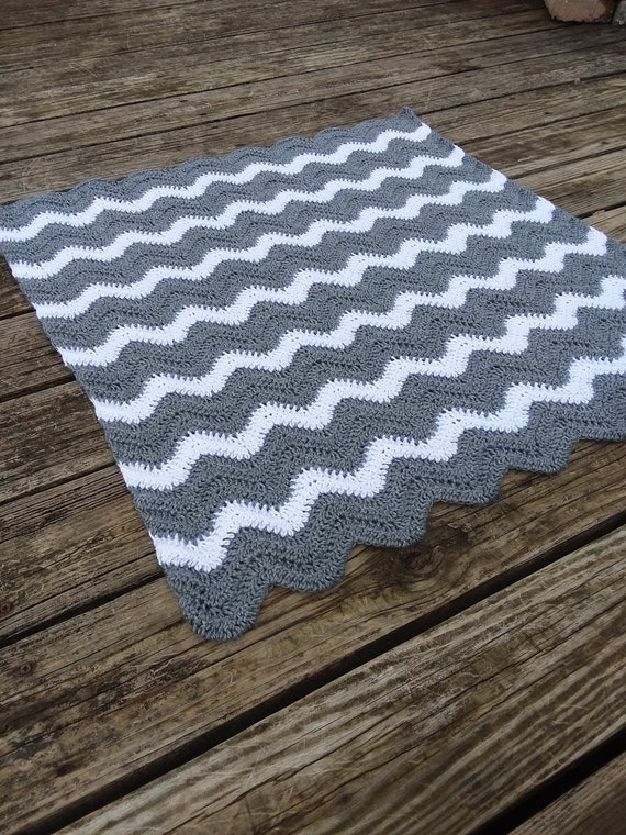 Crochet Baby Blanket Grey and White Hand Made Chevron Afghan