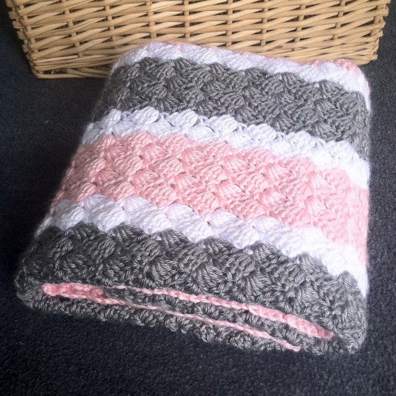 Crochet Girl Baby Blanket Hand Made Pink Grey And White Etsy