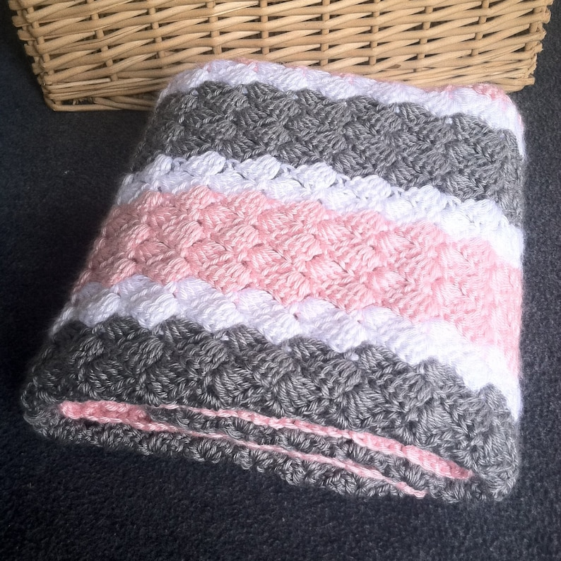 Crochet Girl Baby Blanket - Hand Made Pink, Grey and White Striped Afghan -  Pattern Available Click on Description Below for Link to Listing