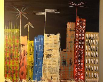 "ORiGiNAL ART ""MY CiTY SHiNES"" Mid Century Modern Landscape Abstract   - Acrylic on canvas 24"" X 24"" (18-0408)  - -  I am the ARTiST !"