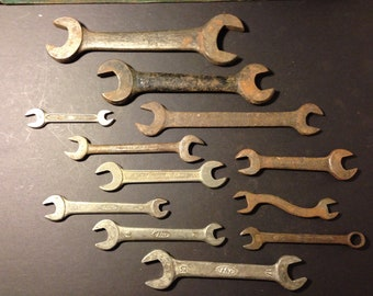 Vintage Lot Of 12 Wrenches Antique Tool   HM / Craftsman / Other Miscl.    Very Cool Lot Of Unique Tools   You Get Them All