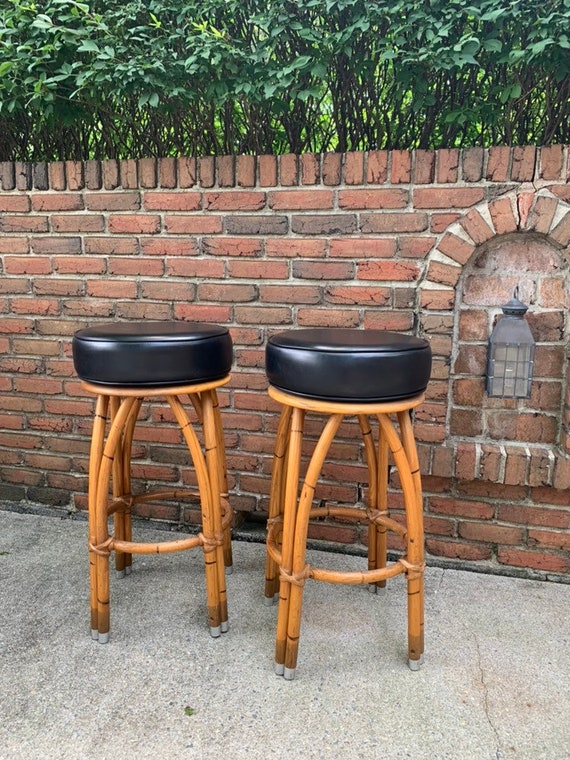 Miraculous Choice Of Two 2 Vintage Bamboo Swivel Tiki Bar Stool Chairs Amazing Find Price Is For Each Bar Stool Customarchery Wood Chair Design Ideas Customarcherynet