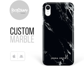 461f120aa3d71e Black Marble Phone case, personalised iPhone XR, iPhone 8 Plus, X, Xs Max,  6, 7 Plus, personalized name samsung Galaxy S10 lite, S9, S8 case