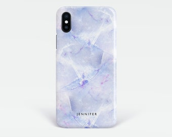 Personalised Marble iPhone Xs case, Lilac phone case with custom name for iPhone X, Xs Max,XR, 7, 8, 8 Plus, iPhone SE, 6s,Samsung S9, S8,S7