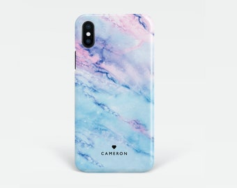 Personalised Blue Marble iPhone X case, also for iPhone 8, Xs Max, XR, X, 7, 6s, SE, Custom name Samsung Galaxy S9, S8, S7 Edge, S6, S5 case