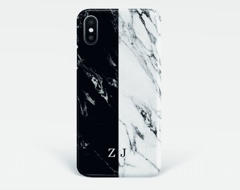 Black and White Marble iPhone Xs case, personalised initials phone case, iPhone X, Xs Max,XR, 7, 8, 8 Plus, SE, 6s, Samsung S9, S8, S7 Edge,