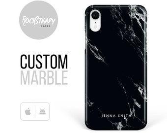 Black Marble iPhone 12 case,personalised iPhone 11 Pro,XR, 8 Plus,X,Xs Max, 6, 7 Plus,personalized name samsung Galaxy S10 lite, S9, S8 case