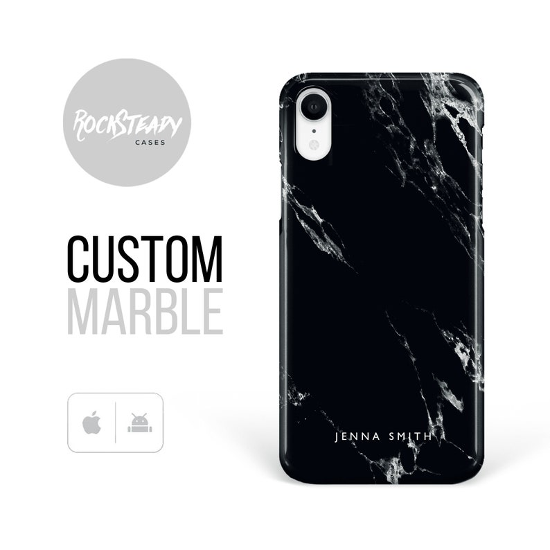 new concept 42ac4 0fbcc Black Marble Phone case, personalised iPhone XR, iPhone 8 Plus, X, Xs Max,  6, 7 Plus, personalized name samsung Galaxy S10 lite, S9, S8 case