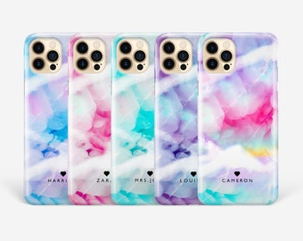 Personalised Marble Phone Case for iPhone 12 11 Pro Max Xs Xr SE 8 Plus Samsung S21 Ultra S20 Plus S10 S9 S8 S7 Abstract name hard cover