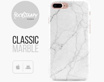 Classic Marble Phone case, White iPhone 7, 8, X, 6, 6s Plus cover, samsung Galaxy S8 case, S7 Edge, S6, S5, SE, 5C marble case