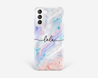 Pastel Marble Phone Case Samsung S21 iPhone 12 personalised cursive name gift 11 Pro Xs Xr S20 Ultra