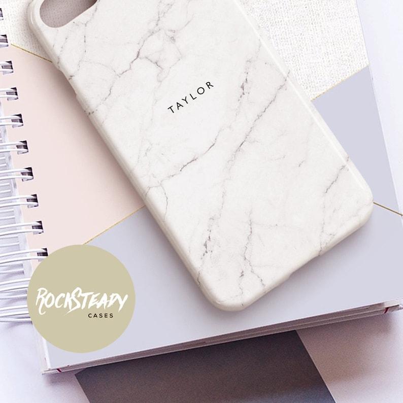 Personalised White Marble iPhone XR Case Custom name 8 Xs image 0