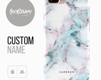 Personalised Marble Phone case, iPhone 7, 8, X, 6, 6s Plus, samsung Galaxy S8, S7 Edge, SE custom name monogram case, personalized Galaxy S6