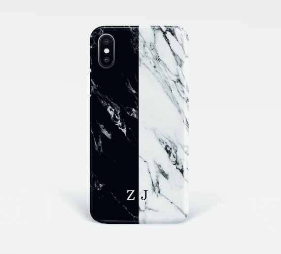 iPhone 7 Plus / 8 Plus Marmo Monogram con Nome A Bianco Custodia