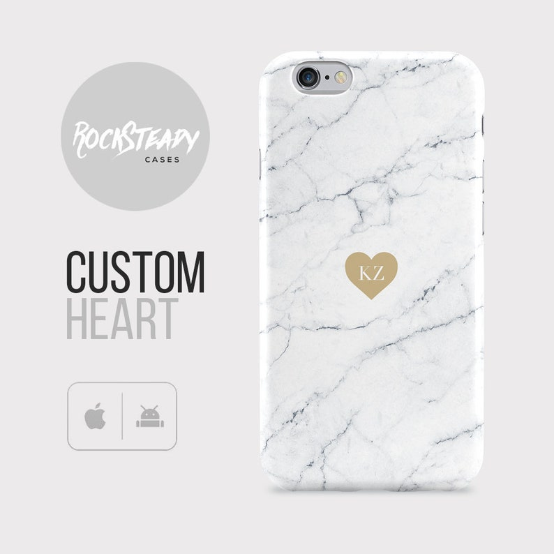 reputable site bff14 5f7dc Custom Heart Marble Phone case, personalised Initials iPhone 8, 7, 6 Plus,  Xs max, XR, SE, custom samsung Galaxy S9, S8 S6 Edge, S7, cover