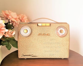 Gold and Beige G E C Transistor Seven Radio, Vintage 1960s 9v, Small Portable LW MW, Retro Home Decor, Display Only, Mid Century Modern MCM