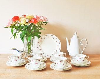 Vintage Mismatched China Tea Set or Coffee Service 6 Floral Trios Teapot Milk Jug Creamer Cake Plate Small Pink Rose Pattern Teacups Saucer