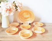 Anchor Hocking Bowls, Set of 7 Peach Dishes, Vintage Lustre Swirled Shell Bowls, Fire King Milk Glass 6 Small One Large Dessert Fruit Bowls