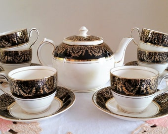 Crownford China Tea Set, Vintage English Burslem, 6 Duos Teacups Saucers Gilded Teapot Coffee Service Black Gold Porcelain England 13 Pieces