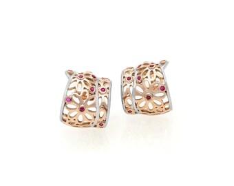 14K Rose and White Gold Ruby Earrings - 3N00306