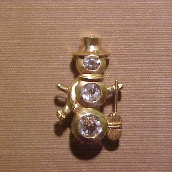 10k White Gold Snowman Pendant