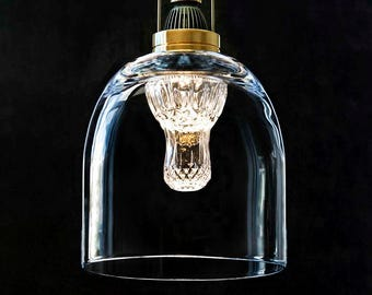 Pendant light from layered glass and crystal shapes #30