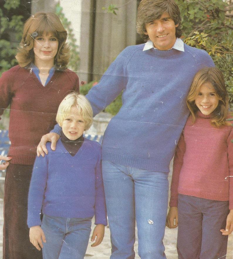909748166 Vintage Family Easy V-Neck and Round Neck DK Sweater Knitting
